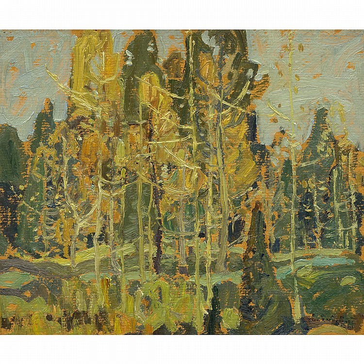 FRANKLIN CARMICHAEL, O.S.A., R.C.A.AUTUMN LANDSCAPE, oil on board; signed and dated 1921 10 ins x 12 ins; 25 cms x 30 cms Provenance: L. Bruce Pierce Collection (No.9), Toronto.Jennings D. Young Collection, Toronto.Private Collection,