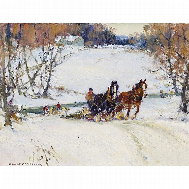 MANLY EDWARD MACDONALD, R.C.A.HORSE AND SLEIGH IN WINTER, oil on canvas board; signed 12 ins x 16 ins; 30 cms x 40 cms