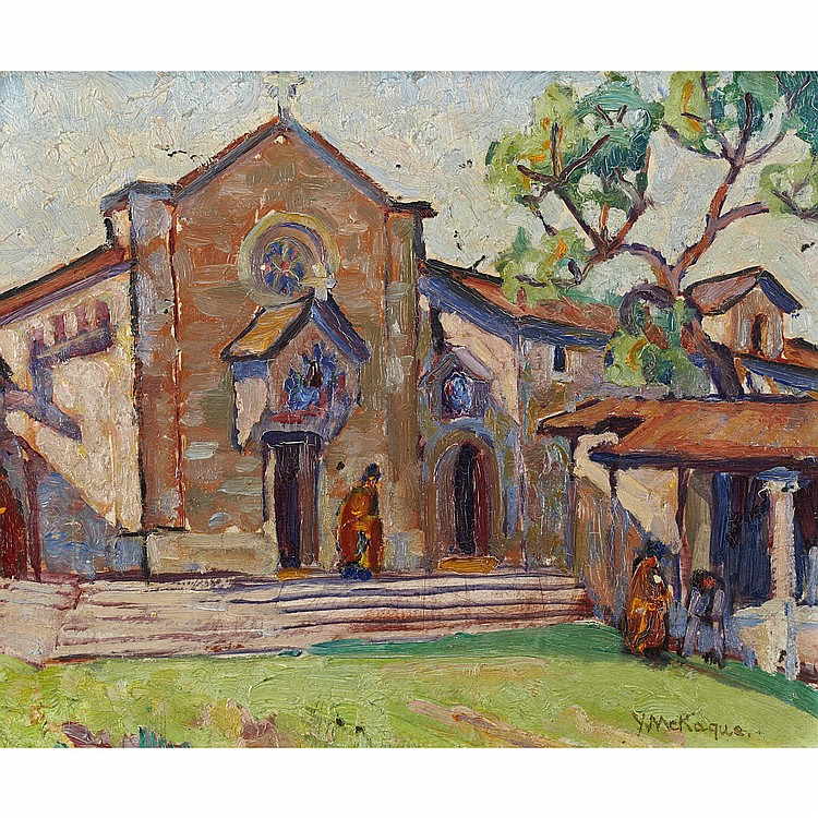 YVONNE MCKAGUE HOUSSER, O.S.A., R.C.A.MONASTERY IN ITALY, oil on board; signed 8.5 ins x 10.5 ins; 21.3 cms x 26.3 cms