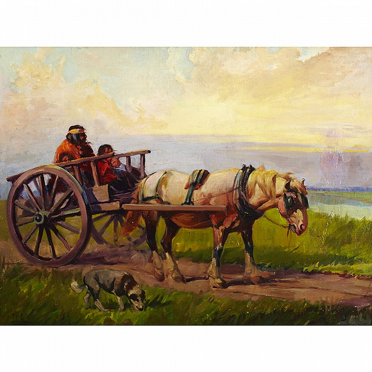 JOHN INNES, O.S.A.RED RIVER CART, oil on canvas, laid down on board; signed 23.5 ins x 31.25 ins; 58.8 cms x 78.1 cms  Provenance: Harold Groves Collection, Toronto.Private Collection, Vancouver Island.