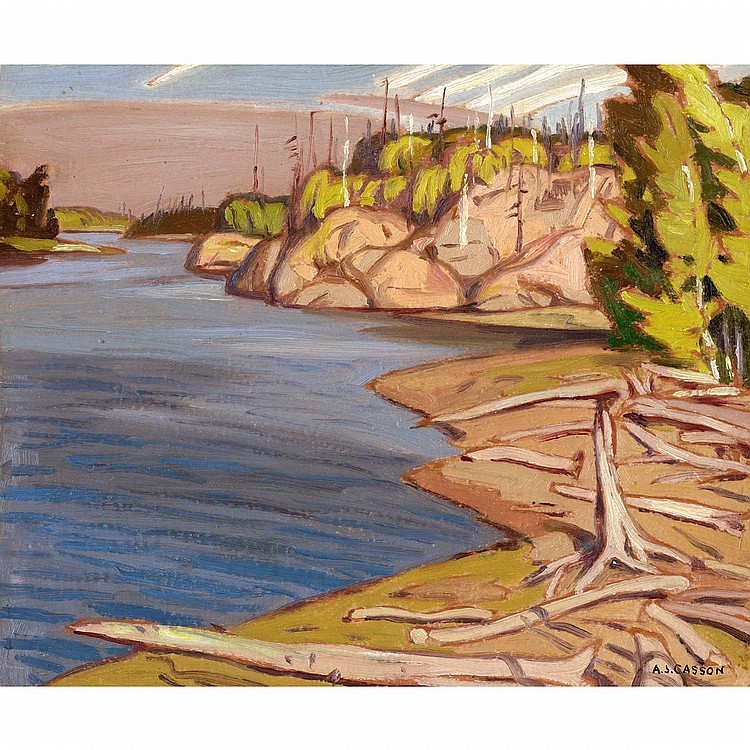 ALFRED JOSEPH CASSON, O.S.A., P.R.C.A.MAGNETAWAN RIVER, 1934, oil on board; signed 9.25 ins x 11.25 ins; 23.1 cms x 28.1 cms  Provenance: Mayberry Fine Art, Winnipeg.Private Collection, Winnipeg.