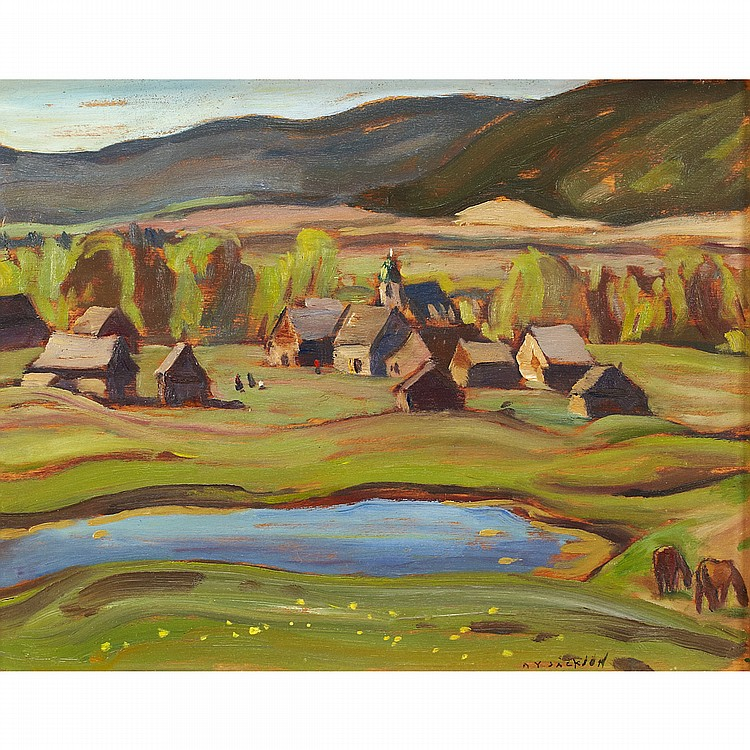 ALEXANDER YOUNG JACKSON, O.S.A., R.C.A.INDIAN VILLAGE, 150 MILE HOUSE, B.C., MAY 1949, oil on panel; signed 10.5 ins x 13.5 ins; 26.3 cms x 33.8 cms Provenance: Private Collection, Vancouver.Literature: Naomi Jackson Groves,