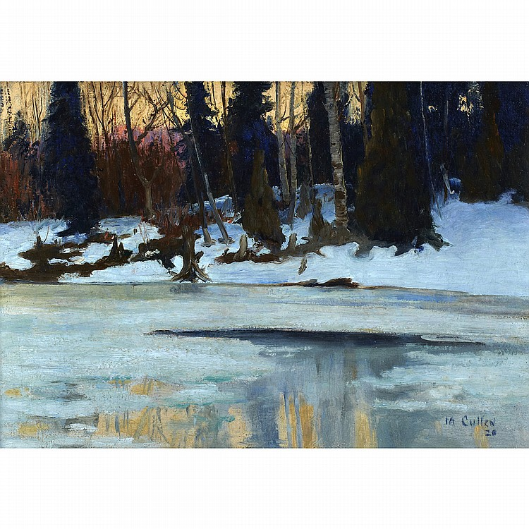 MAURICE GALBRAITH CULLEN, R.C.A.WINTER EVENING IN THE LAURENTIANS, oil on canvas; signed and dated /20, Cullen Inventory No.1003 14 ins x 20 ins; 35 cms x 50 cms