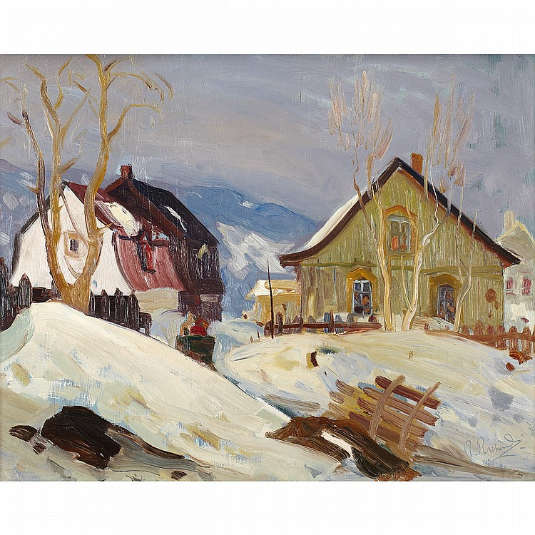 RENE RICHARDRUE DU VILLAGE, BAIE ST. PAUL, oil on board; signed 16 ins x 20 ins; 40 cms x 50 cms  Provenance: Galerie L'Art francais, Montreal.Private Collection, Florida.