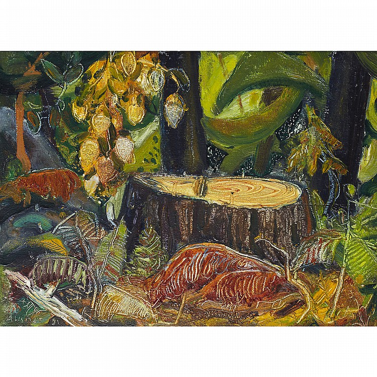 ARTHUR LISMER, O.S.A., R.C.A.TREE STUMP, B.C. FOREST, oil on board; signed and dated '51 12 ins x 15.75 ins; 30 cms x 39.4 cms Provenance: The Art Emporium, Vancouver.Private Collection, Toronto.Literature: Marjorie Lismer Bridges,