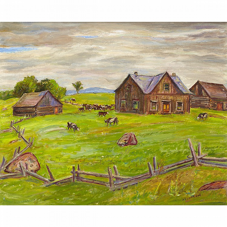 ALEXANDER YOUNG JACKSON, O.S.A., R.C.A.GATINEAU FARM WITH GRAZING CATTLE, oil on canvas; signed 26 ins x 32 ins; 65 cms x 80 cms  Provenance: Joyner Fine Art Inc., auction, Toronto, November 15th, 1996, lot 136.Private Collection, Ontario.