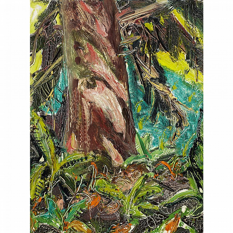 ARTHUR LISMER, O.S.A., R.C.A.TOTEM TREE AT LONG BEACH, B.C., 1953, oil on panel; signed 16 ins x 12 ins; 40 cms x 30 cms Literature: Lois Darroch,