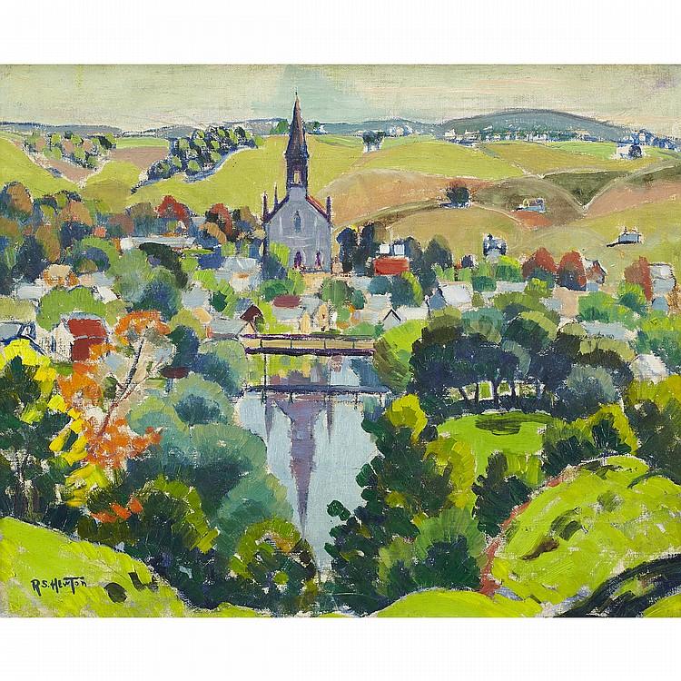 RANDOLPH STANLEY HEWTON, R.C.A.QUEBEC VILLAGE, AUTUMN, oil on canvas; signed, Hewton Estate stamp on the reverse 12 ins x 15 ins; 30 cms x 37.5 cms  Provenance: Estate of Randolph Stanley Hewton.Private Collection, Ontario.