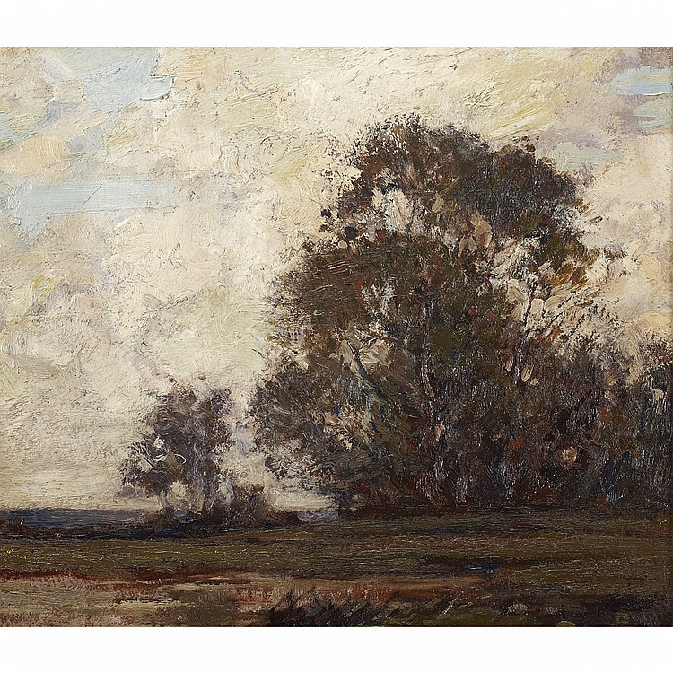 JOHN WILLIAM BEATTY, O.S.A., R.C.A.LANDSCAPE, oil on board 10.5 ins x 12 ins; 26.3 cms x 30 cms