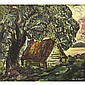 MARC-AURELE FORTIN, A.R.C.A., LAKESIDE COTTAGE, QUEBEC, oil on paper, laid down on board, 25 ins x 27 ins; 62.5 cms x 67.5 cms
