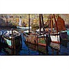 HARRY BRITTON, O.S.A., R.C.A., BOATS AT ANCHOR, oil on canvas, 30 ins x 50 ins; 76.2 cms x 127 cms