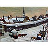 KATHLEEN MOIR MORRIS  A.R.C.A., CAB STAND IN WINTER, QUEBEC CITY, oil on canvas, 18 ins x 24 ins; 45.7 cms x 61 cms