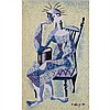 JEAN-PHILIPPE DALLAIRE, FEMME ASSISE, gouache on paper, laid down on card, (sight) 8.75 ins x 5.25 ins; 22.2 cms x 13.3 cms