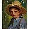 LAURA ADELINE MUNTZ, O.S.A., A.R.C.A., BOY WITH A STRAW HAT, oil on canvas, 15 ins x 13 ins; 38.1 cms x 33 cms