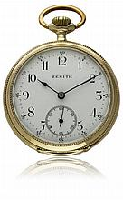 A GENTLEMAN'S 14K SOLID GOLD ZENITH POCKET WATCH