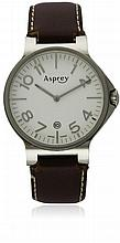 A STAINLESS STEEL ASPREY NO. 8 WRISTWATCH DATED