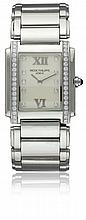 A LADIES STAINLESS STEEL & DIAMOND PATEK PHILIPPE