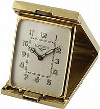 A FINE & RARE 14K SOLID GOLD LONGINES TRAVEL CLOCK