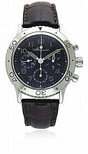 A GENTLEMAN'S STAINLESS STEEL BREGUET TYPE XX AERONAVALE FLYBACK CHRONOGRAPH WRISTWATCH CIRCA 1995, REF. 3800, FIRST SERIES WITH ORIGINAL BREGUET LOGO DIAL D: Black dial with luminous applied Arabic numerals, triple register recording hours, minutes