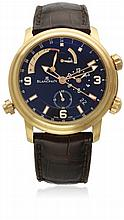 A RARE GENTLEMAN'S 18K SOLID ROSE GOLD BLANCPAIN LEMAN REVEIL GMT ALARM WRIST WATCH CIRCA 2008, REF. 2841-36B30-64B D: Black dial with luminous inlaid gilt batons & Arabic numerals, two subsidiary dials for setting alarm & continuous seconds, alarm