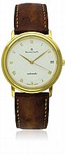 A GENTLEMAN'S 18K BLANCPAIN VILLERET WRIST WATCH CIRCA 1990s D: White dial with applied gilt Roman numerals. M: Automatic movement signed Blancpain. C: Circular case, signed & numbered, 18k hallmarks, case diameter measures approx. 34mm. S: Brown