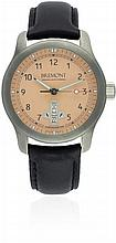A STAINLESS STEEL BREMONT AUTOMATIC WRIST WATCH DATED 2013, REF. BC-F1/SP, WITH ORIGINAL PAPERS & BREMONT TRAVEL POUCH D: Salmon pink dial with applied silver Arabic numerals, day & date aperture. M: Automatic chronometer movement with ''hacking''