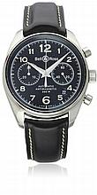A GENTLEMAN'S STAINLESS STEEL BELL & ROSS VINTAGE 126 AUTOMATIC CHRONOGRAPH WRIST WATCH DATED 2008, REF. 130-S, WITH ORIGINAL BOX & OPEN PAPERS D: Black dial with applied silver Arabic numerals, double register recording minutes & continuous seconds,