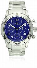 A RARE GENTLEMAN'S STAINLESS STEEL BREGUET TYPE XX AERONAVALE FLYBACK CHRONOGRAPH BRACELET WATCH DATED 1998, REF. 3807, SPECIAL EDITION WITH BOX & PAPERS D: Electric blue dial with applied Arabic numerals, triple register recording hours, minutes &