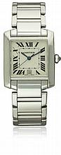 A GENTLEMAN'S 18K SOLID WHITE GOLD CARTIER TANK FRANCAISE BRACELET WATCH CIRCA 2000s, REF. 2366 D: Silver guilloche dial with applied Roman numerals, inner minute track & a secret signature at VII. M: Automatic movement signed Cartier. C: Square