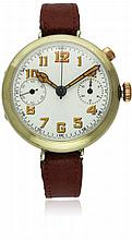 A RARE GENTLEMAN'S SINGLE BUTTON CHRONOGRAPH WRIST WATCH CIRCA 1918 D: Enamel dial with applied luminous ''skeleton'' Arabic numerals, double register recording minutes & continuous seconds. M: Manual wind movement. C: Large circular nickel case,