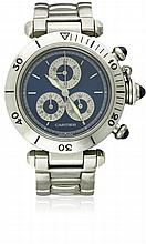 A GENTLEMAN'S STAINLESS STEEL CARTIER PASHA CALENDAR CHRONOGRAPH BRACELET WATCH CIRCA 2000, REF. 1352 1 D: Blue dial with silver batons, three silver subsidiary dials for hours, minutes & date. M: Quartz movement signed Cartier. C: Circular case with