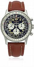 A GENTLEMAN'S STAINLESS STEEL BREITLING COSMONAUTE CHRONOGRAPH WRIST WATCH DATED 1998, REF. A12023 SPECIAL SERIES WITH ORIGINAL BOX, PAPERS & BOOKLETS D: Black dial with applied luminous 24 hour Arabic numerals,three silver registers recording hours,