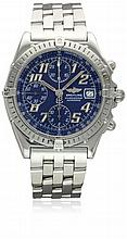 A GENTLEMAN'S STAINLESS STEEL BREITLING CHRONOMAT CHRONOGRAPH BRACELET WATCH CIRCA 2000, REF. B 13050.1 WITH BREITLING BOX D: Blue dial with luminous inlaid silver Arabic numerals, triple register recording hours, minutes & continuous seconds, date