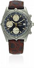 A GENTLEMAN'S STAINLESS STEEL BREITLING CHRONOMAT CHRONOGRAPH WRIST WATCH CIRCA 1990s, REF. 81.950 D: Black dial with applied luminous markers, three silver registers recording hours, minutes & continuous seconds, date aperture. M: 17 jewel automatic