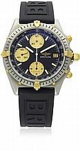 A GENTLEMAN'S STEEL & GOLD BREITLING CHRONOMAT CHRONOGRAPH WRIST WATCH CIRCA 1990s, REF. 81.950 D: Black dial with applied luminous markers, three gold colour registers recording hours, minutes & continuous seconds, date aperture. M: 17 jewel