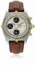 A GENTLEMAN'S STEEL & GOLD BREITLING CHRONOMAT CHRONOGRAPH WRIST WATCH CIRCA 1990s, REF. 81.950 D: Silver dial with sunburst pattern & silver batons, three black registers recording hours, minutes & continuous seconds, date aperture. M: 17 jewel