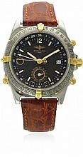 A GENTLEMAN'S STEEL & GOLD BREITLING GMT DUOGRAPH WRIST WATCH CIRCA 1996, REF. B15047 D: Black dial with luminous inlaid gilt batons, inner 24 hour GMT bezel, night & day indicator & dual date display. M: Automatic movement signed Breitling, calibre