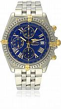 A GENTLEMAN'S STEEL & GOLD BREITLING CROSSWIND AUTOMATIC CHRONOGRAPH BRACELET WATCH DATED 2001, REF. B13355 WITH BOX & PAPERS D: Blue dial with luminous inlaid gilt Roman numerals, triple register recording hours, minutes & continuous seconds, date