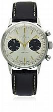 A GENTLEMAN'S STAINLESS STEEL BREITLING TOP TIME CHRONOGRAPH WRIST WATCH CIRCA 1970, REF. 2002 D: Silver & black ''Panda'' dial with gilt batons & hands, double register recording minutes & continuous seconds. M: Manual wind movement signed