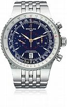 A GENTLEMAN'S STAINLESS STEEL BREITLING MONTBRILLANT LEGENDE CHRONOGRAPH BRACELET WATCH CIRCA 2008, REF. A23340 D: Black dial with silver batons, MPH & KM scale with a inner rotating slide rule bezel, double registers recording minutes & continuous