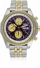 A GENTLEMAN'S STEEL & GOLD BREITLING BENTLEY GT CHRONOGRAPH WRISTWATCH CIRCA 2005, REF. D13362 SPECIAL EDITION D: Burgundy dial with gilt batons & luminous markers, date & date apertures, triple register recording hours, minutes & continuous seconds.