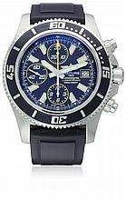 A GENTLEMAN'S STAINLESS STEEL BREITLING SUPEROCEAN CHRONOGRAPH WRIST WATCH DATED 07/2014, REF. A13341 WITH BOX ,PAPERS & BOOKLETS , STILL UNDER MANUFACTURES WARRANTY D: Black dial with luminous inlaid silver batons, triple register recording hours,