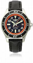 A GENTLEMAN'S STAINLESS STEEL BREITLING SUPEROCEAN WRIST WATCH CIRCA 2010, REF. A17364 LIMITED EDITION OF 2000 PIECES D: Black dial with raised silver Arabic numerals & luminous markers, raised orange coloured inner minute bezel, date aperture. M: