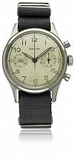A GENTLEMAN'S STAINLESS STEEL BREITLING PREMIER BELGIUM MILITARY AIR FORCE PILOTS CHRONOGRAPH WRIST WATCH CIRCA 1950, REF. 777 D: Silver dial with applied luminous Arabic numerals, double register recording minutes & continuous seconds. M: Manual
