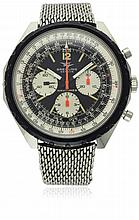 A RARE GENTLEMAN'S STAINLESS STEEL BREITLING NAVITIMER CHRONOGRAPH BRACELET WATCH CIRCA 1970, REF. 0816 D: Black dial with luminous applied markers & Arabic numerals, three silver registers recording hours, minutes & continuous seconds, inner