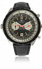 A GENTLEMAN'S STAINLESS STEEL BREITLING NAVITIMER CHRONO-MATIC CHRONOGRAPH WRIST WATCH CIRCA 1970, REF. 1806 D: Black & silver dial with luminous applied markers, double register recording hours & minutes, date aperture, inner rotating slide rule