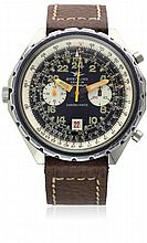 A RARE GENTLEMAN'S STAINLESS STEEL BREITLING 24 HOUR COSMONAUTE CHRONO-MATIC CHRONOGRAPH WRIST WATCH CIRCA 1970, REF. 1809 D: Black dial with luminous applied 24 hour Arabic numerals, two silver registers recording hours & minutes, inner rotating