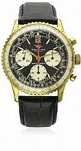 A GENTLEMAN'S STEEL & GOLD FILLED BREITLING NAVITIMER CHRONOGRAPH WRIST WATCH CIRCA 1960s, REF. 806 D: Black dial with applied luminous markers & Arabic numerals, three silver registers recording hours, minutes & continuous seconds, slightly faded