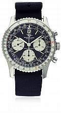 A GENTLEMAN'S STAINLESS STEEL BREITLING NAVITIMER CHRONOGRAPH WRIST WATCH CIRCA 1960s, REF. 806 D: Black dial with applied luminous markers, three silver registers recording hours, minutes & continuous seconds, inner rotating slide rule bezel. M: 17