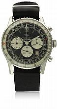 A RARE GENTLEMAN'S STAINLESS STEEL IRAQI MILITARY BREITLING NAVITIMER CHRONOGRAPH WRIST WATCH CIRCA 1972 D: Black & silver dial with applied luminous markers, triple register recording hours, minutes & continuous seconds, date aperture, inner